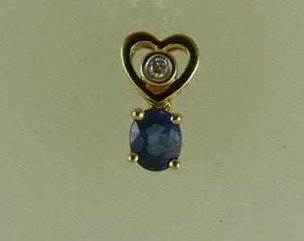 Sapphire 0.48ct Pendant 14k Yellow Gold with Diamond