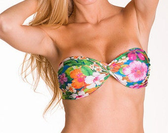 Brazilian Bikini Top Bandeau Floral Print Push-up Strapless Swimwear Swimsuit