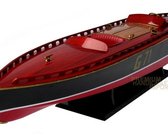 """Rare Beautiful handcrafted Rainbow IV 35"""" Display Wooden Model Boat"""