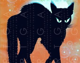 A dreadful fierce Halloween GHOST CAT ! Art Deco Illustration. Vintage Halloween Digital Download. Halloween Creepy Cat.