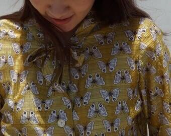 Gold butterfly pattern shirt / top