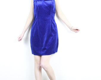 1990s vintage blue velvet dress / Sleeveless Royal blue mini dress front bow cocktail party dress fitted waist 90s from France/ Size Medium