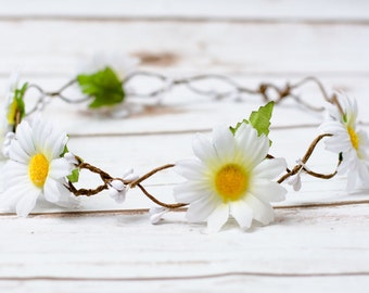 Rustic Wedding Daisy Hair Wreath hairband accessories white daisy Flower Girl crown bridal headband