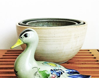 Vintage Hand Painted Ceramic Tonala Bird Figurine, Mexico Ceramic Duck, Folk Art Bird, Noe Suro Pottery, Mexican Ceramic Bird, Ceramic Bird