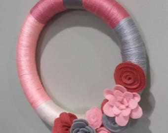 Felt Flower Wreath - Spring Wreath - Easter Wreath - Yarn Wreath - READY TO SHIP
