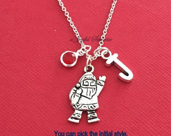 Santa Necklace, Santa Claus Jewelry, Gift for Niece Nephew Christmas Silver charm Initial Birthstone Holiday present daughter son girl boy