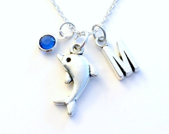 Dolphin Necklace, Sea Jewelry Gift for Marine Biologist Animal Silver charm Initial Birthstone present Short Long Chain Sterling Girl Woman