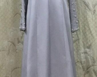 Beaded Silver Dress by Helen Bass, Silver Evening Gown