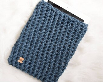 Blue iPad Sleeve - Knit Tablet Cozy - Chunky Knitted Crochet Blue Denim Reader Case