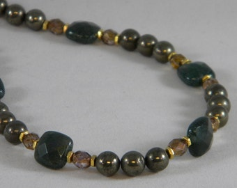 OOAK Pyrite and Moss Agate Beaded Necklace