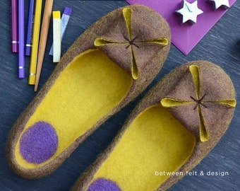 Felted slippers Wool clogs Unique design slippers Women home shoes Yellow shoes