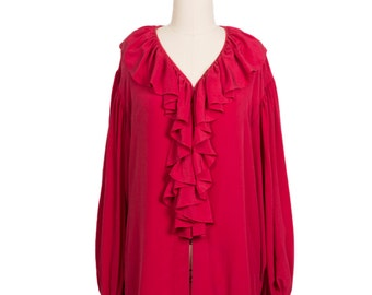 Vintage 70s hippie Ruby Red ruffled collar silk button up Blouse -1970s grunge red vintage loose fitting silk blouse