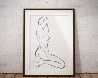minimalist woman print minimalist erotic bedroom art nude woman painting watercolor erotic art naked woman bedroom decor female nude drawing