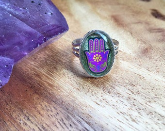 Hamsa Ring Evil Eye Ring Glass Cabochon Jewellery Adjustable Ring Cabochon Ring Statement Ring Silver Plated Ring Womens Ring SPR28