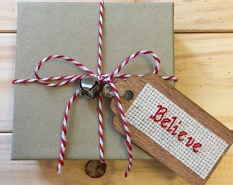 Believe Gift Tag, Christmas Gift Tag, Holiday Gift Tag, Wooden Gift Tag, Gift Tag, Cross Stitch