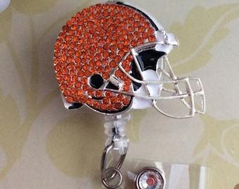 Rhinestone Helmet Cleveland Football Fan Retractable ID Badge Reel, Nurse Badge Reel