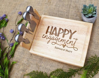 Happy Engagement Cutting Board with Cheese Tools, Engagement Gift, Shower, Wedding, Cheese Board, Custom, Personalized, Laser Engraved, Gift