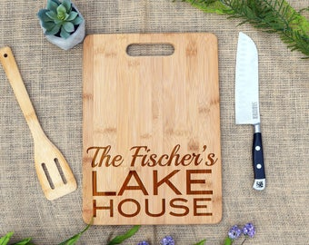 Custom Lake House Cutting Board, Personalized Cutting Board, Cheese Board, Engraved, Lake House Gift, Present, Vacation Home, Housewarming