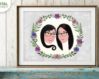 Custom Gay Couple Portrait Illustration, Gay Wedding Gift, Same Sex Couples, Gay Pride, Gay Marriage, gay anniversary, gay birthday
