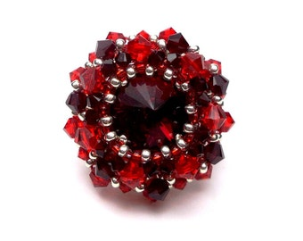 Silver red embroidered ring, Adjustable ring in Sterling Silver, Swarovski, couture Crystal