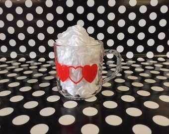 Love All Around~Glcoloc~Red Heart~Clear Glass Mug~Valentine~Love~Coffee Cup
