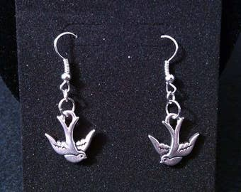 Silver Plated Swallow Earrings