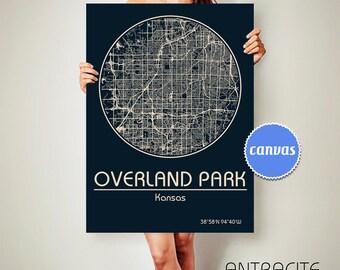OVERLAND PARK Kansas CANVAS Map Overland Park Kansas Poster City Map Overland Park Kansas Art Print Overland Park Kansas