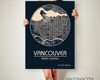 VANCOUVER Canada CANVAS Map Vancouver Canada Poster City Map Vancouver Art Print Vancouver poster Vancouver map art Poster Vancouver map
