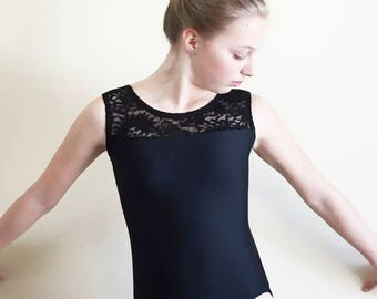 Gymnastics dance leotard with lace and open back
