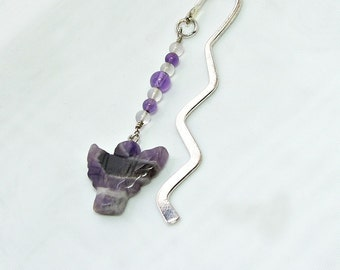 Unique Book Mark with Amethyst   Book Lover Gift Idea   Angel Bookmark   February Birthstone Bookmark   Metal Bookmarks for bookworms  A0393