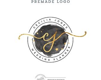 Logo design Premade Watercolor, Business Logo, Gold Calligraphy Logo, Watercolor Logo, Branding, Premade Logo Design, Logo and watermark