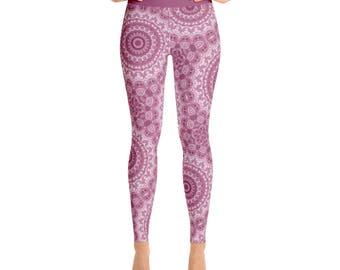 Pink Mandala Leggings - Yoga Leggings, Bohemian Leggings, Gypsy Yoga Tights, Boho Yoga Pants, Womens Stretch Pants