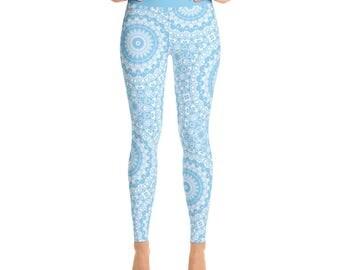 Baby Blue Yoga Leggings - Blue Leggings, Blue and White Printed Leggings, Mandala Art Tights, Blue Stretch Pants
