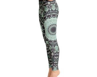 Yoga Print Leggings. Ladies Yoga Leggings. Yoga Pants. Green and Brown Printed Leggings. Fashion Leggings. Womens Stretch Pants
