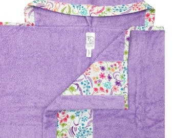 English Garden Hooded Towel Lavender Aqua Pink