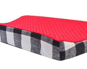 Black Buffalo Check - Red Minky Changing Table Cover