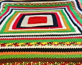 Vintage Afghan Hand Made Bedding- Multi-color blanket, Large Afghan Blanket , Vintage Bedroom Decor