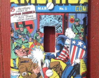Captain America #1 Light Switch Cover Switchplate Decoupage Marvel Silver Age Comic Book