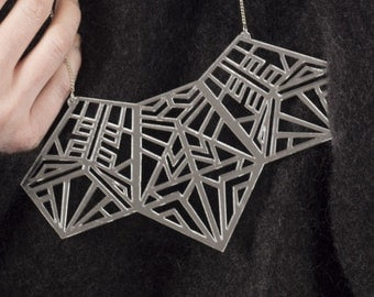 Tribe Silver Geometric Acrylic Necklace / statement / bib necklace / as seen in living north magazine