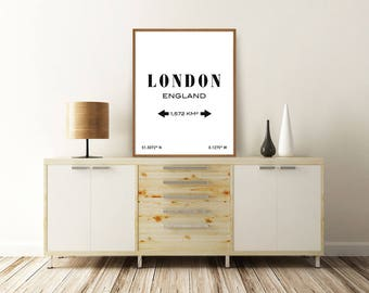 LONDON PRINT, London England, London Poster, London Map, England Poster, Typography Print, Printable Wall Art, Minimalist Poster