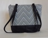 Reclaimed black leather, grey and white chevron print shoulder bag