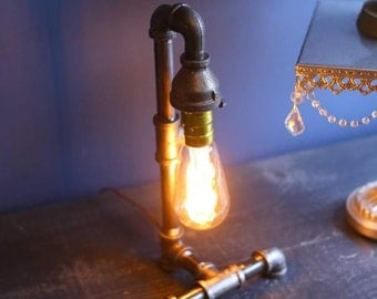 Edison Bulb Desk Lamp 90 degree base - 1 cent Shiipping -Industrial Pipe Lamp - Urban Industrial - Steampunk Lamp - Rustic Charm