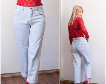 80s High Waisted Jeans 80s Mom Jeans Light Blue Wash Loose Fit Boyfriend Jeans W31 Tapered Leg Baggy Jeans High Rise Waist Light Blue Jeans