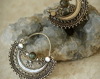 Tribal hoops with stone (labradorite). White wash brass tribal earrings. Sacred geometry, fusion belly dance, festival