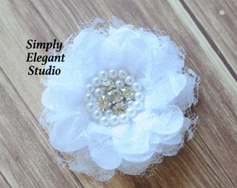 White Lace & Chiffon Flowers with Pearls and Rhinestones, Chiffon Ruffled Fabric Flowers, Flowers For Baby Hair Accessories