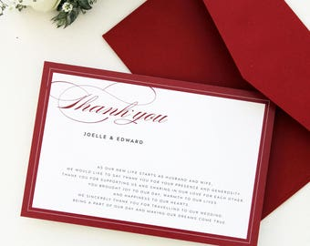 Ria Deep Red Thank You Cards, Burgundy Thank you Cards, Printable Thank you Cards, Suitable for all Occasions, Christmas Thank you cards