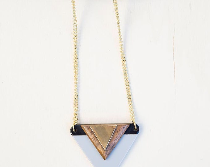 Wood resin necklace / long necklace triangle necklace wood resin jewelery necklace for mum gift for women / womens gift / birthday gift