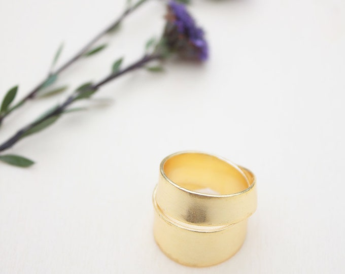 Gold plated ring, Chunky gold ring, gift for her, brass jewelry, boho gold cocktail ring, gold plated jewelry, womens gift, birthday gift
