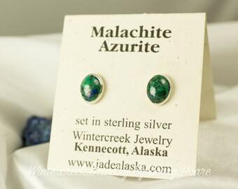 Handmade Malachite/Azurite Small Post Earrings
