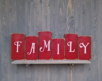 Family blocks, distressed wood, letters signs, standing blocks, family room blocks, table decor, mantle decor, personalized letter blocks